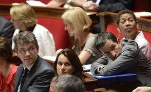 Les trois ex-ministres Arnaud Montebourg, Aurélie Filippetti et Benoît Hamon, à l'Assemblée nationale.