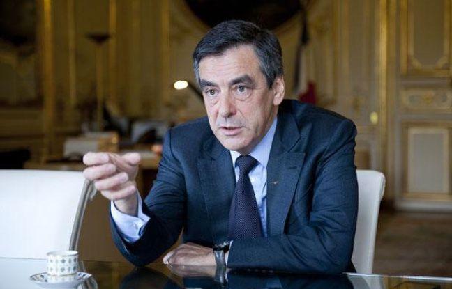 Le 16 avril 2012. Francois Fillon, premier ministre, en interview avec 20 Minutes a l'hotel Matignon.
