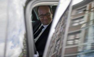 Le président de la République François Hollande le 4 août 2014 à Liège en Belgique
