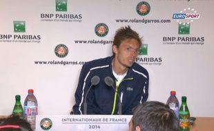 Nicolas Mahut en conférence de presse après sa défaite au premier tour de Roland Garros face à Kukushkin, le 26 mai 2014.