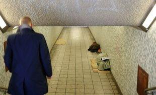 Un sans-abri à Londres, en Grande-Bretagne