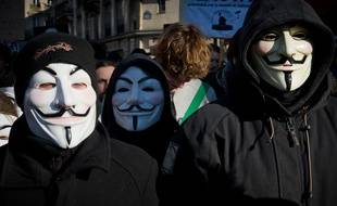Paris le 11 fevrier 2012. Manifestation des Anonymous. Illustration