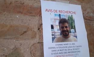 Etienne Mary, 21 ans, a disparu dans la nuit du 29 au 30 août 2019 à Toulouse.