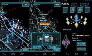 Trois images du jeu Ingress, de Google.