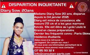Diary Sow, 20 ans, est portée disparue à Paris depuis le 4 janvier.