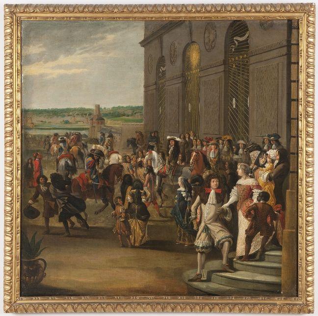 Le physio a l'entrée des fêtes à Versailles était plutôt coolos (Huile sur toile, XVIIème)