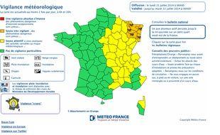 Carte Météo-France. Cinq départements restent en vigilance orange pluies et inondation.