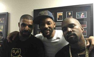 Les stars Drake, Will Smith et Kanye West en 2015