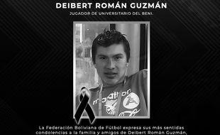 Deibert Román Guzmán, joueur de football professionnel en Bolivie, est décédé à 25 ans du coronavirus.