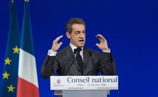 Nicolas Sarkozy, au Conseil national Les Républicains. 13/02/2016. Credit:WITT/SIPA/1602131844