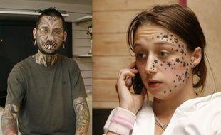 Le tatoueur Rouslan Toumaniantz et sa cliente Kimberley Vlaeminck qui l'accuse de lui avoir tatoué 56 étoiles sur le visage pendant son sommeil.