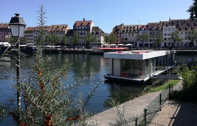 Strasbourg: Une maison flottante jette l'ancre pour deux mois sur les quais