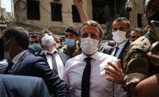 Emmanuel Macvron en visite à Beyrouth, le 6 août 2020.