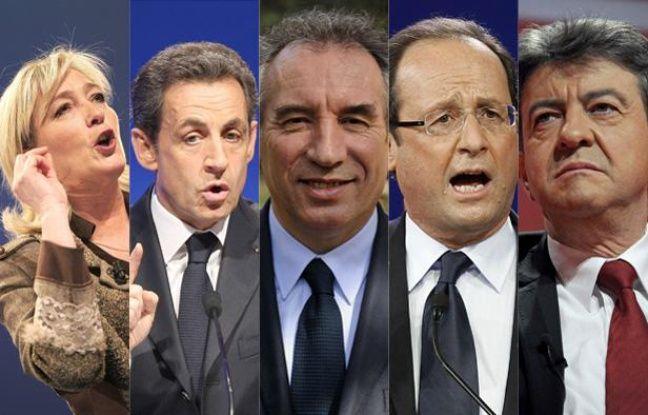 Montage des principaux candidats à l'élection présidentielle (de gauche à droite: Marine Le Pen (FN), Nicolas Sarkozy (UMP), François Bayrou (MoDem), François Hollande (PS) et Jean-Luc Mélenchon (Front de gauche))