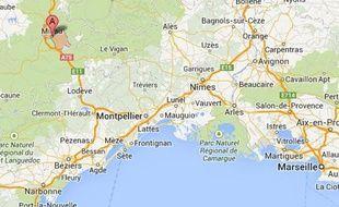 Google map de Millau (Aveyron).