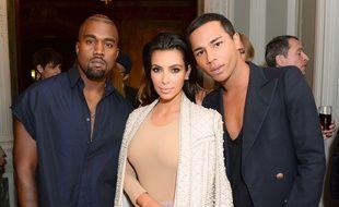 Kanye West, Kim Kardashian et Olivier Rousteing.