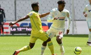 Michy Batshuayi, l'attaquant de l'OM, le 24 avril 2016, contre Nantes.