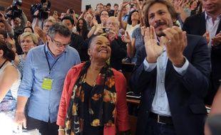 Christiane Taubira lors de sa visite surprise à la réunion des parlementaires «frondeurs» en marge de l'université d'été du PS à la Rochelle le 30 août 2014.