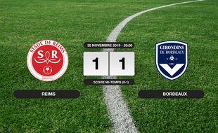 Ligue 1, 15ème journée: Match nul entre le Stade de Reims et Bordeaux (1-1)