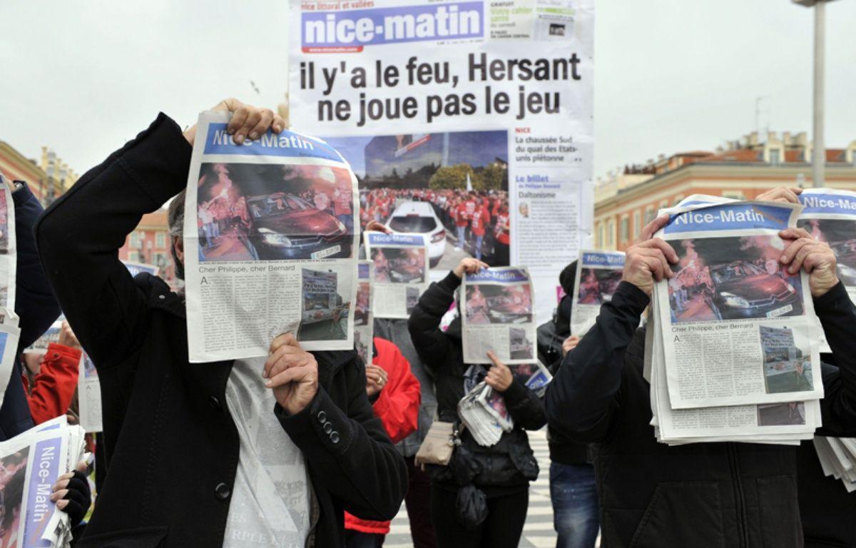 Une manifestation contre le plan de restructuration de «Nice-Matin», le 30 novembre 2013. – BEBERT BRUNO/SIPA