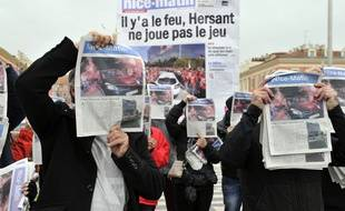 Une manifestation contre le plan de restructuration de «Nice-Matin», le 30 novembre 2013.