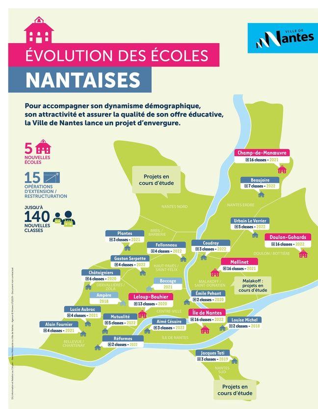Carte du plan de développement des écoles nantaises.