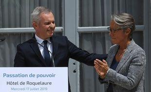 François de Rugy et Elisabeth Borne lors de la passassions des pouvoir au ministère de la Transition écologique.