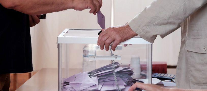 Une urne lors des élections sénatoriales, le 1er juillet 2018 à Alençon.