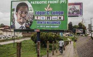 Edgar Lungu, candidat du Front patriotique à l'élection présidentielle en Zambie, le 19 janvier 2015 à Lusuka