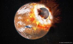 Vue d'artiste de l'impact géant qui aurait donné naissance à Phobos et Deimos.