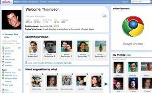 Un profil du réseau social Orkut, de Google.