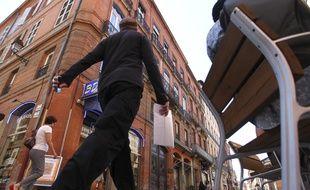 La rue Pargaminières à Toulouse. recemment reamenage pour la pietonisation du centre ville. Toulouse, FRANCE-3/09/13