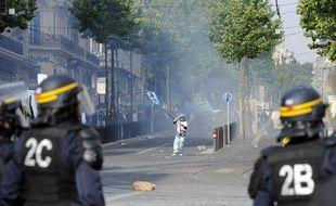 Incidents dans les rues de Marseille lors la fête du titre de champion de France de l'OM, le 16 mai 2010 à Marseille.