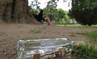 Une bouteille d'alcool dans un parc. Illustration.