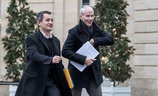 Le ministre de l'Action et des Comptes publics Gérald Darmanin et son collègue de la Culture Franck Riester.