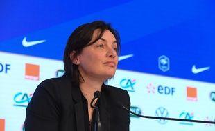 Corinne Diacre en conférence de presse, le 26 février 2020.