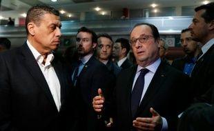 Le président de la FNSEA, Xavier Beulin, et le président Francois Hollande le 27 février 2016 au Salon de l'Agriculture à Paris