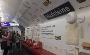 L'installation publicitaire d'Ikea à la station Madeleine