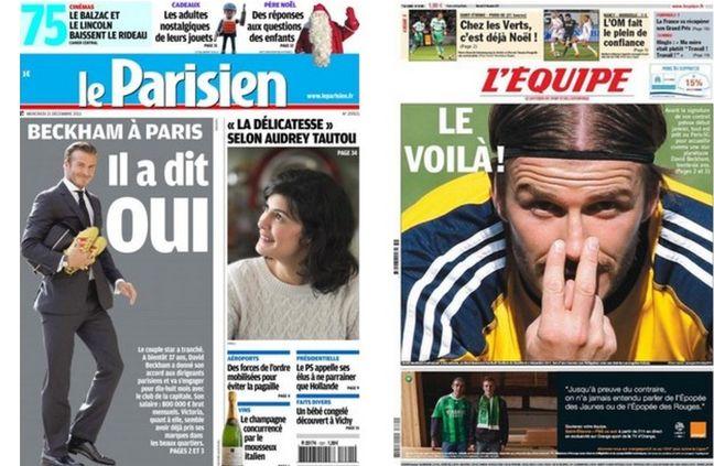 Les Unes des journaux Parisiens avant Beckham
