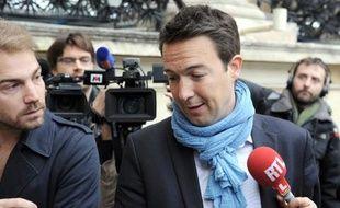 Guillaume Peltier à son arrivée au bureau politique de l'UMP le 27 mai 2014 à l'Assemblée nationale à Paris