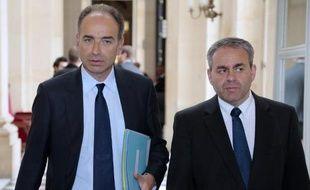 Jean-François Copé et Xavier Bertrand le 29 avril 2014 à l'Assemblée nationale à Paris