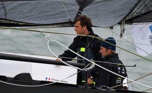 Les skippers Charlie Dalin (gauche) et Yann Elies vainqueurs de la transat Jacques Vabre 2019 en classe Imoca.