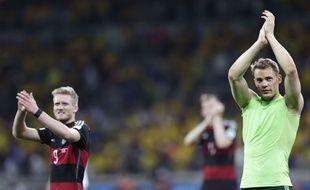 Les Allemands après leur démonstration contre le Brésil le 8 juillet 2014.