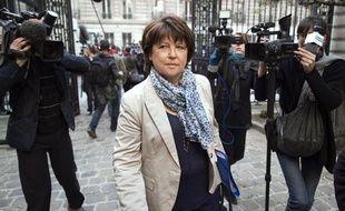 Martine Aubry, le 5 avril 2011, à son arrivée au siège du Parti socialiste, à Paris.