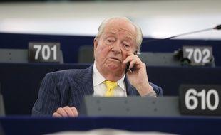 Strasbourg le 01 juillet 2014. Jean-Marie Le Pen aux parlement Europeen a Strasbourg pour la session de juillet