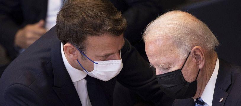 Emmanuel Macron et Joe Biden au sommet de l'Otan à Bruxelles, le 14 juin 2021.
