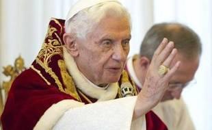 Le pape Benoît XVI lors de l'annonce de sa démission, le 11 février 2013, au Vatican.