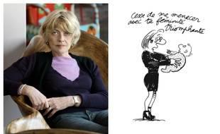 Claire Bretécher en 2008 et l'un de ses dessins, extrait des «Petits Travers».