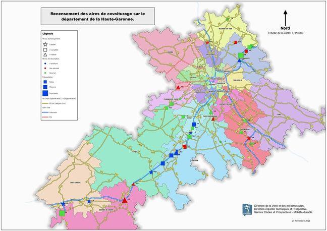 Carte des aires de covoiturage recensées par le conseil départemental de la Haute-Garonne.
