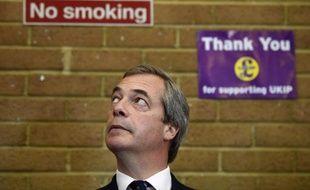 Le leader du parti populiste Ukip Nigel Farage, le 13 avril 2015 à Clacton-on-Sea